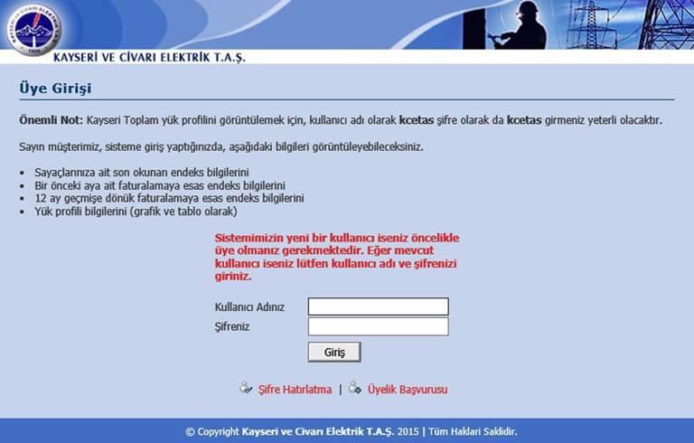 Kayseri Ve Civari Elektrik T. A.Ş. - Yük Profili ve Tüketim Erişim sistemi