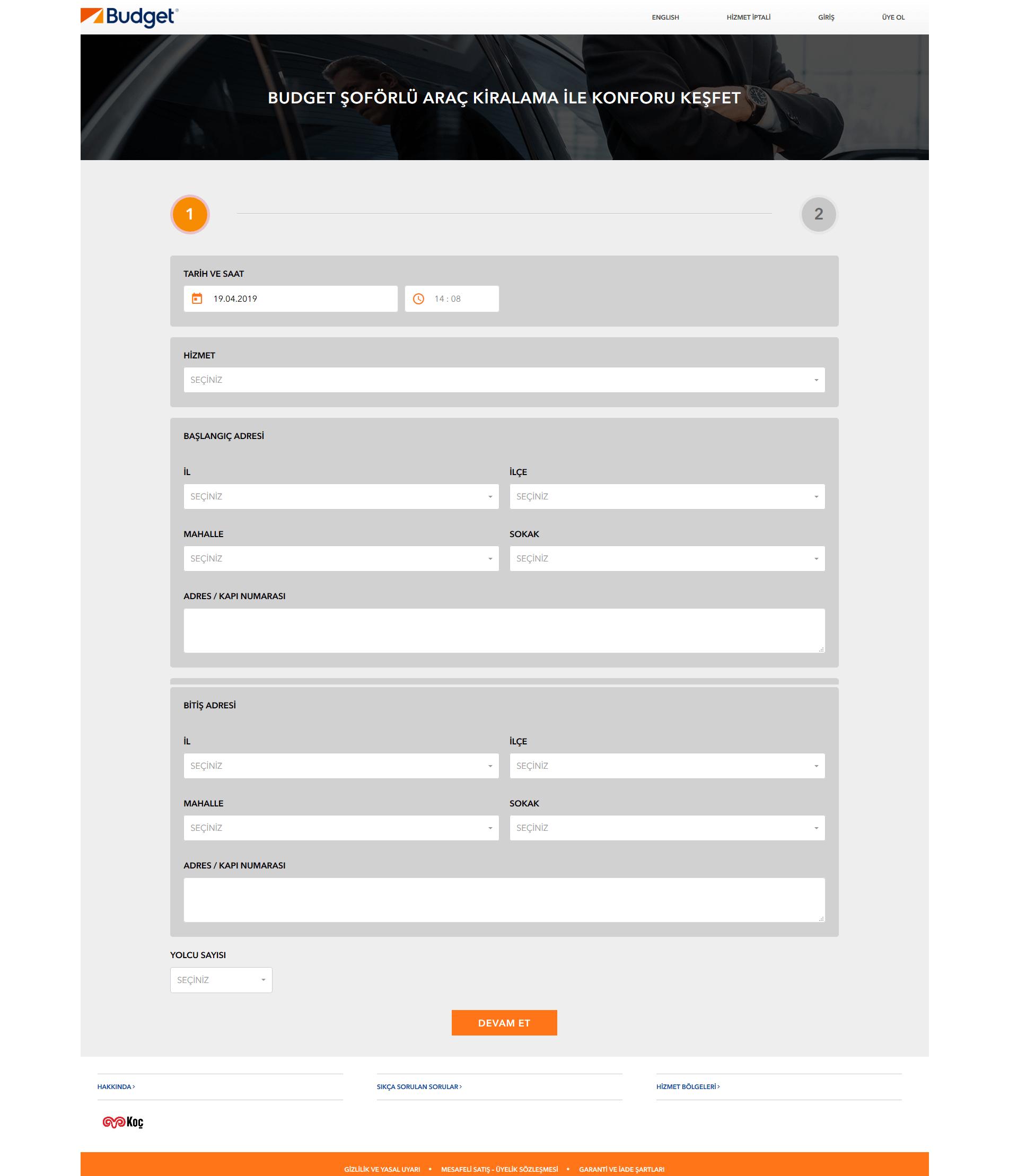 Budget Havalimanı Transfer ve Şoförlü Araç Kiralama Web Sitesi ve Operasyon Yazılımı