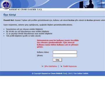 INTRANET - ÖZEL YAZILIMLAR-Kayseri Ve Civari Elektrik T. A.Ş. - Yük Profili ve Tüketim Erişim sistemi